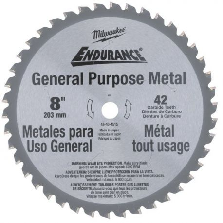 Lame 203 mm métal Milwaukee pour MCS 66 42 dents