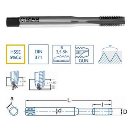 Taraud Droit Machine Métrique Queue Renforcée HSSE DIN371 (M) GUN