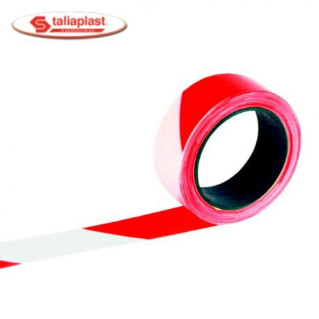 Ruban de signalisation rouge et blanc 100m Rubaplast