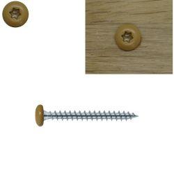 Vis bois 5x50 mm tête couleur chêne moyen tête cylindrique torx zinguées par 50