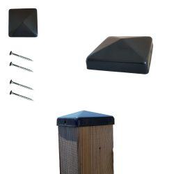 Chapeaux ornement de poteau 71x71 mm RAL 7016 gris anthracite galvanisés à chaud par 2