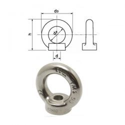 Écrou à anneau inox A4 diamètre 10 mm