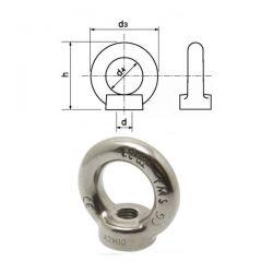 Écrou à anneau inox A4 diamètre 12 mm
