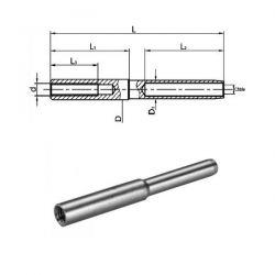 Embout à sertir taraudé pas à gauche diamètre 7.2 mm petit modèle - Inox A4