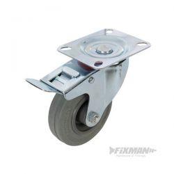 Roulette pivotante à frein en caoutchouc 100 mm 70 kg