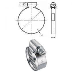 Colliers à bande Inox A2 W4 9,15 mm plage de serrage 32 à 50 mm par 25
