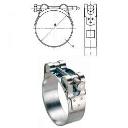 Colliers 23-25mm acier W1 à tournillons pour tuyaux épais et armés par 50