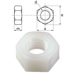 Ecrous nylon diamètre 10 mm par 100