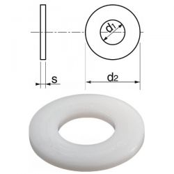 Rondelles diamètre 20 mm plates larges nylon par 25