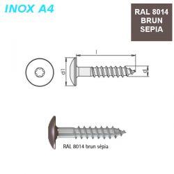 Vis RAL 8014 brun sépia 5,5X35 mm pour panneaux façade FPS par 500