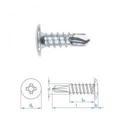 Vis autoperceuse 3,5x9,5 mm tête type rivet zinguée par 500