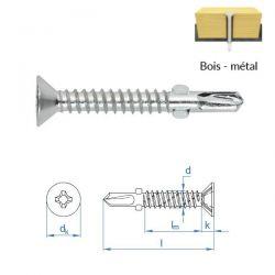 Vis autoperceuses 6,3x85 mm zingué bois sur métal par 250