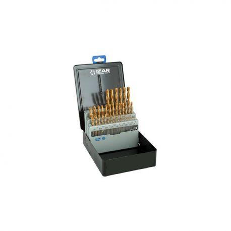 Coffret forets métaux 1-10 x 0.25 HSS + TIN DIN338N 37 pièces TIN