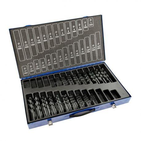Coffret forets métaux 1-13 x 0.50 + 3.3 + 4.2 HSS DIN338N 220 pièces