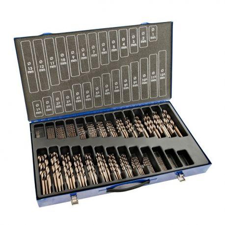 Coffret forets métaux 1-13 x 0.50 + 3,3 + 4,2 HSSE DIN338N 220 pièces
