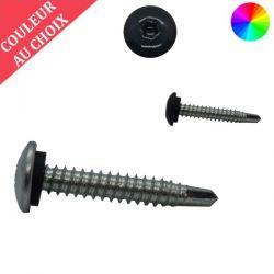 Vis autoperceuses 6,3x38 mm avec rondelle étancheité tête bombée zinguée bardage sur support bois couleur au choix par 200