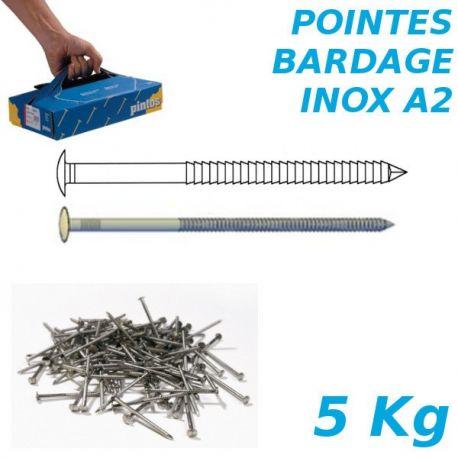 Pointes bardage 2,5x60mm Inox A2 annelées tête bombée par 5Kg